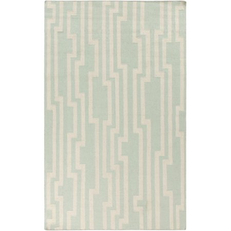 5 X 8 Incessant Paths Aqua Green And Ivory Hand Woven Wool Reversible Area Throw Rug