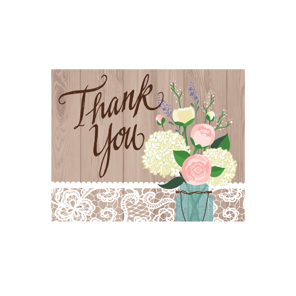 "Club Pack of 48 Rustic Wedding ""Thank You"" Paper Cards"