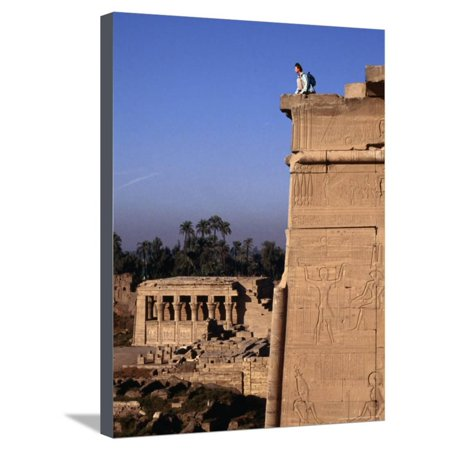 Bas Relief on Exterior Walls of the Temple of Hathor, Dendara, Egypt Stretched Canvas Print Wall Art By Bethune Carmichael