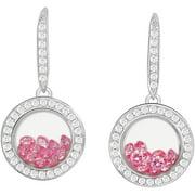 Floating Pink CZ Sterling Silver Designer Earrings