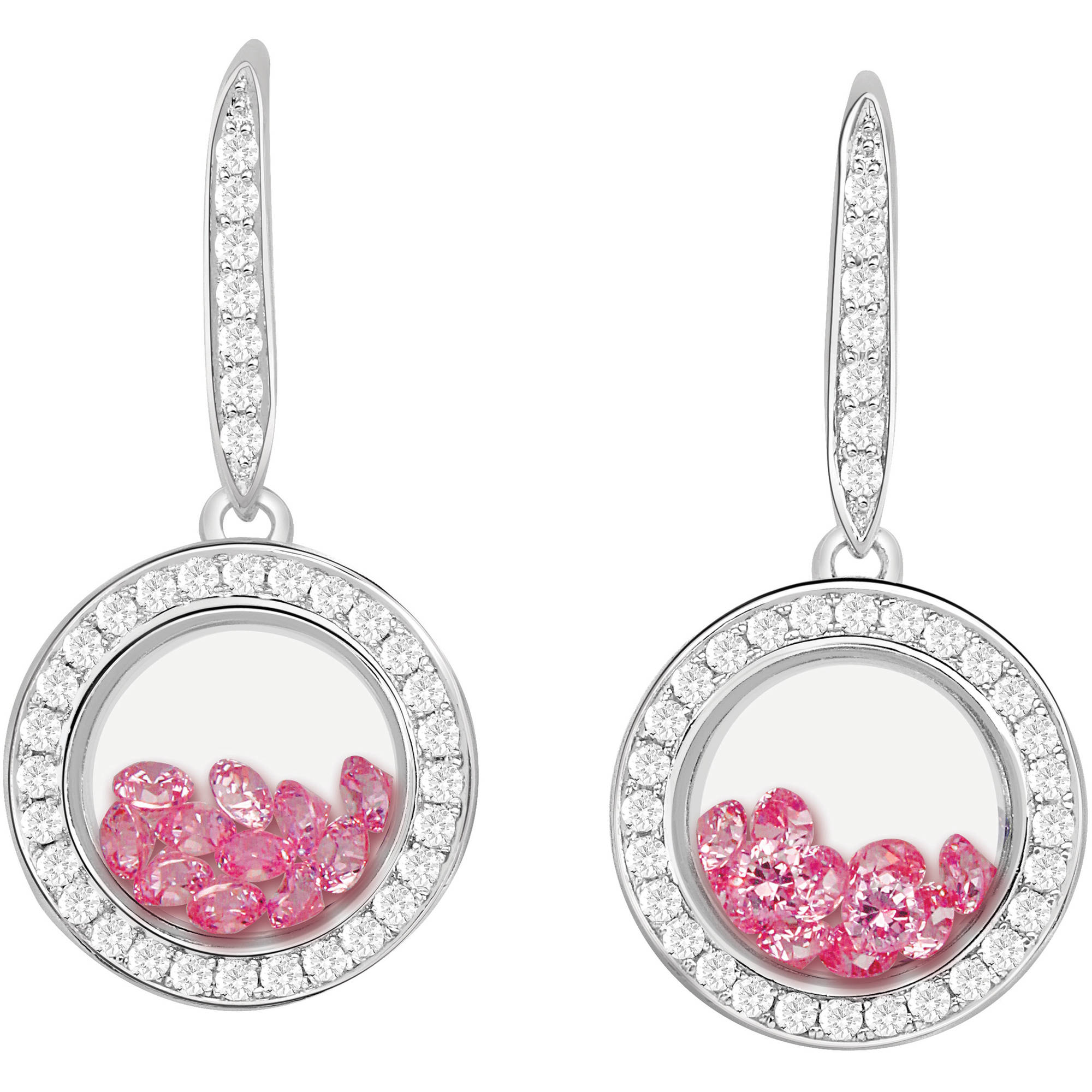 Chetan Collection Floating Pink CZ Sterling Silver Designer Earrings