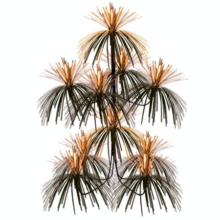 Club Pack of 12 Metallic Orange and Black Firework Chandelier Hanging Party Decorations 24
