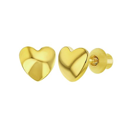 18k Gold Plated Little Plain Heart Screw Back Kids Earrings for Girls - Little Girls Jewelry Boxes