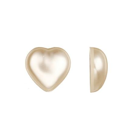 Beads Supplies 13pcs Heart Flat Back Pearl Cabochon 18x7mm - Flat Backed Heart