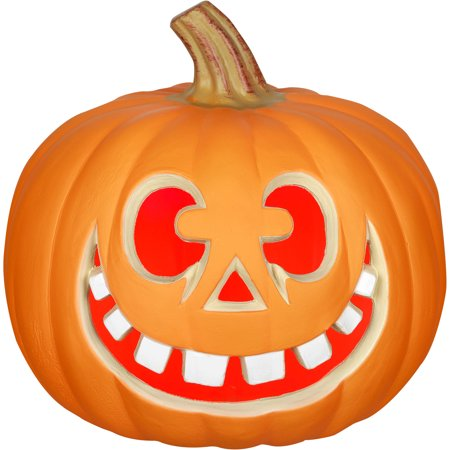 Lighted 9 Blow Mold Pumpkin Happy Face W Big White Teeth By Gemmy