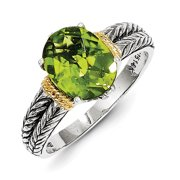 Sterling Silver w/ 14k Yellow Gold Peridot Vintage Ring