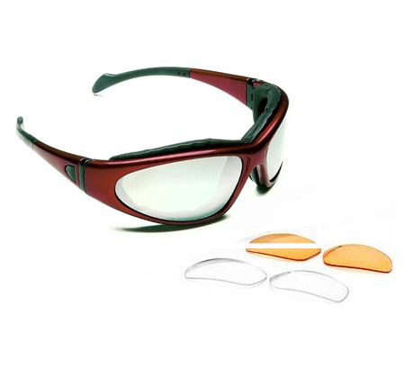 Body Specs BSG-2 Goggles, Crystal Red Frame / Smoke-Green Lens, w/ Clear & Light