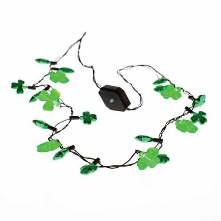 U.S. Toy Light Up Flashing LED Shamrock St. Patrick's Day Necklace (Lighted Necklace)