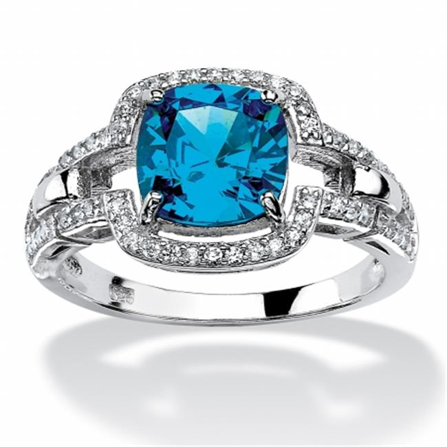 Palm Beach Jewelry 557677 1. 97 TCW Cushion-Cut Blue Cubic Zirconia Halo Cocktail Ring, Platinum Over Sterling Silver,