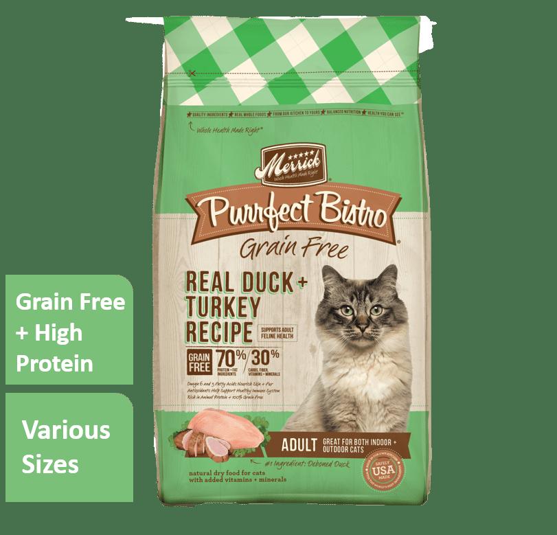 Merrick Purrfect Bistro Grain-Free Real Duck + Turkey Dry Cat Food, 7 lb