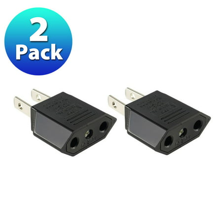Insten 2X EU to US Travel Adapter Power Converter Wall Plug European Plug