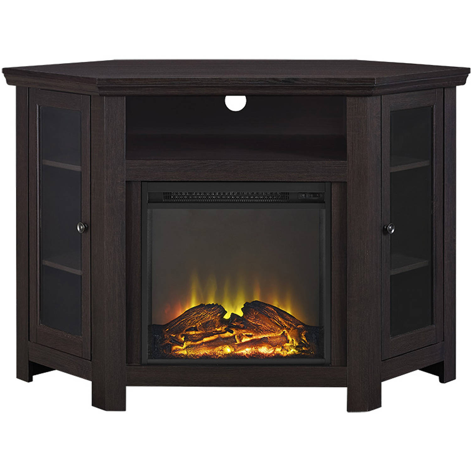 wood corner tv fireplace tv stand for tvs up to 52 quot multiple finishes walmart