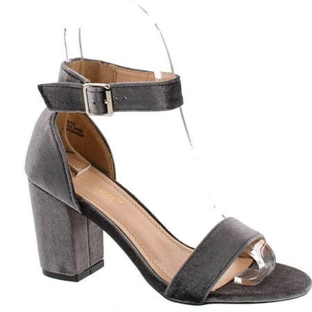 Aaron Platform (Chase & Chloe Carly-2 Women's Velvet Stacked Chunky Heel Strappy Platform Sandal )