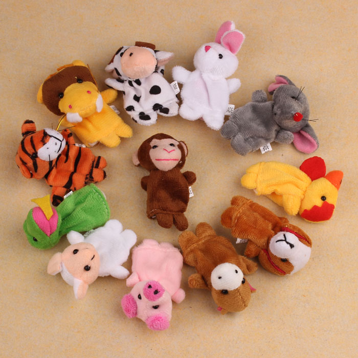 Outtop 12Pcs Chinese Zodiac Soft Animal Puppet Finger Toys PLush Toys