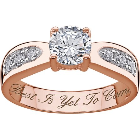 Personalized Rose Gold over Sterling Brilliant CZ Engraved Wedding - Personalized Wedding Rings
