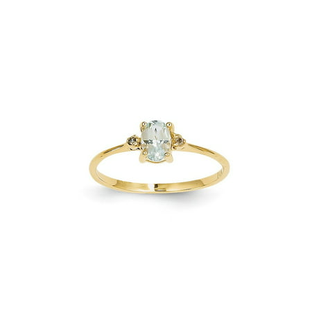 - 14k Yellow Gold Diamond Blue Aquamarine Birthstone Band Ring Size 6.00 March Oval Style