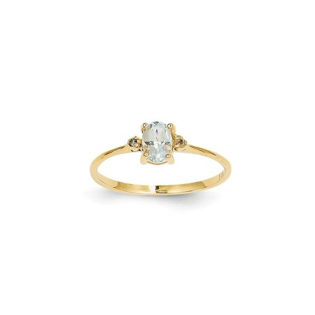 14k Yellow Gold Diamond Blue Aquamarine Birthstone Band Ring Size 6.00 March Oval Style