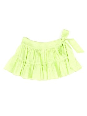Azul Little Girls Green Solid Color Tie Sash Cotton Ruffle Swim Skirt