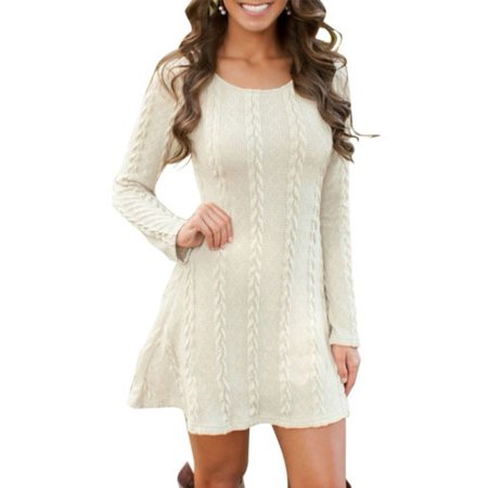 Women Long Sleeve Mini Tunic Dress Knitted Sweater Jumper Tops Sweater Pullover Slim Cocktail Party