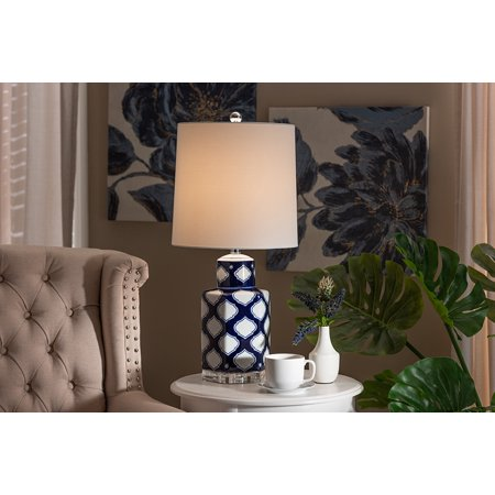 Baxton Studio Tierney Modern and Contemporary Dark Blue and White Quatrefoil Patterned Ceramic Table Lamp ()