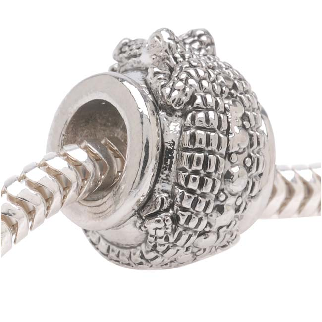 Silver Tone European Style Large Hole Bead With Alligator - (1)