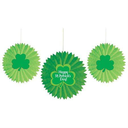 St. Patrick's Day Paper Fan Decorations (3pc)](St Patrick Day Decorations)