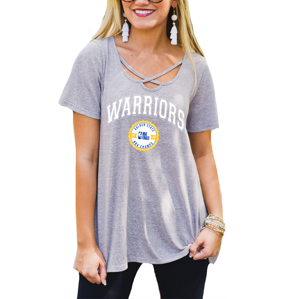Golden State Warriors Women's 2018 NBA Finals Champions Cross Neck T-Shirt - Gray
