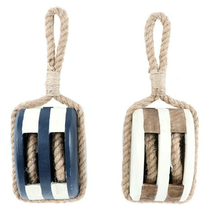 Nautical Ships Pulley Wood with Rope Hangers Blue and White Set of 2