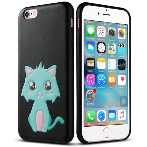 """iPhone 6s Case, iPhone 6 Case, [4.7 inch], ULAK Cute 3D [PET] Synthetic Leather Case [Hybrid] [Slim][Lightweight] Cover for Apple iPhone 6/6S 4.7"""" Devices (Mint Green Cat/Black)"""