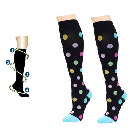Dr. Motion Women's Mild Compression Giant Dots Knee High Socks - Black/Blue 4-10