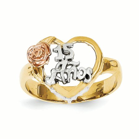 14K Tri Color Gold Sweet 15 Anos Heart Ring, Size 7
