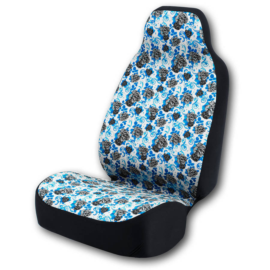 Coverking Universal Seat Cover Fashion Print, Ultra Suede, Black Roses and Blue Background with Black Interlock Backing