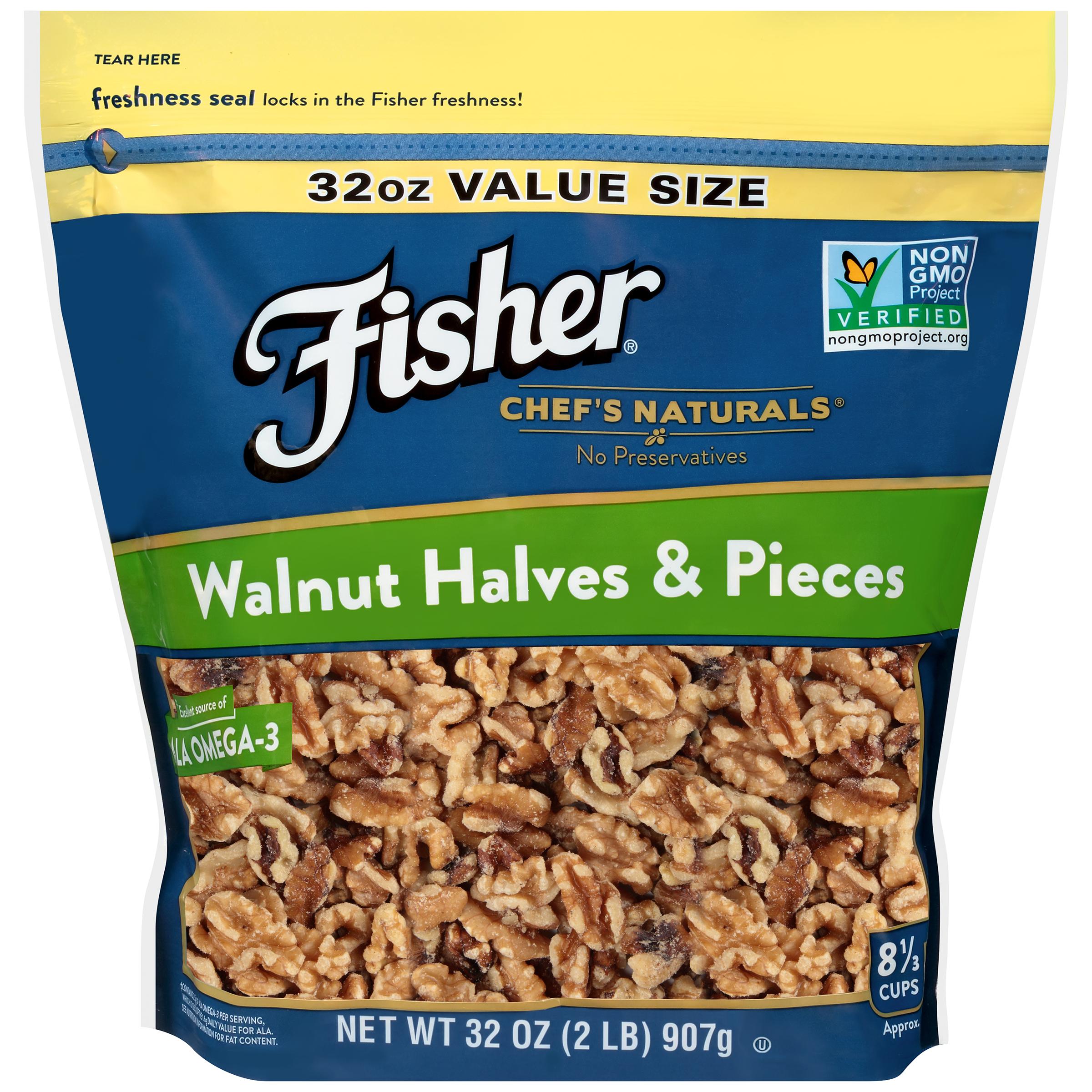 Fisher Chef's Naturals Walnut Halves & Pieces, 32 oz
