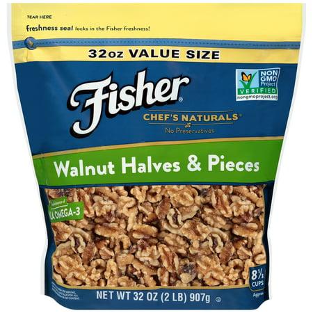 - (3 Pack) Fisher Chef's Naturals Walnut Halves & Pieces, 32 oz