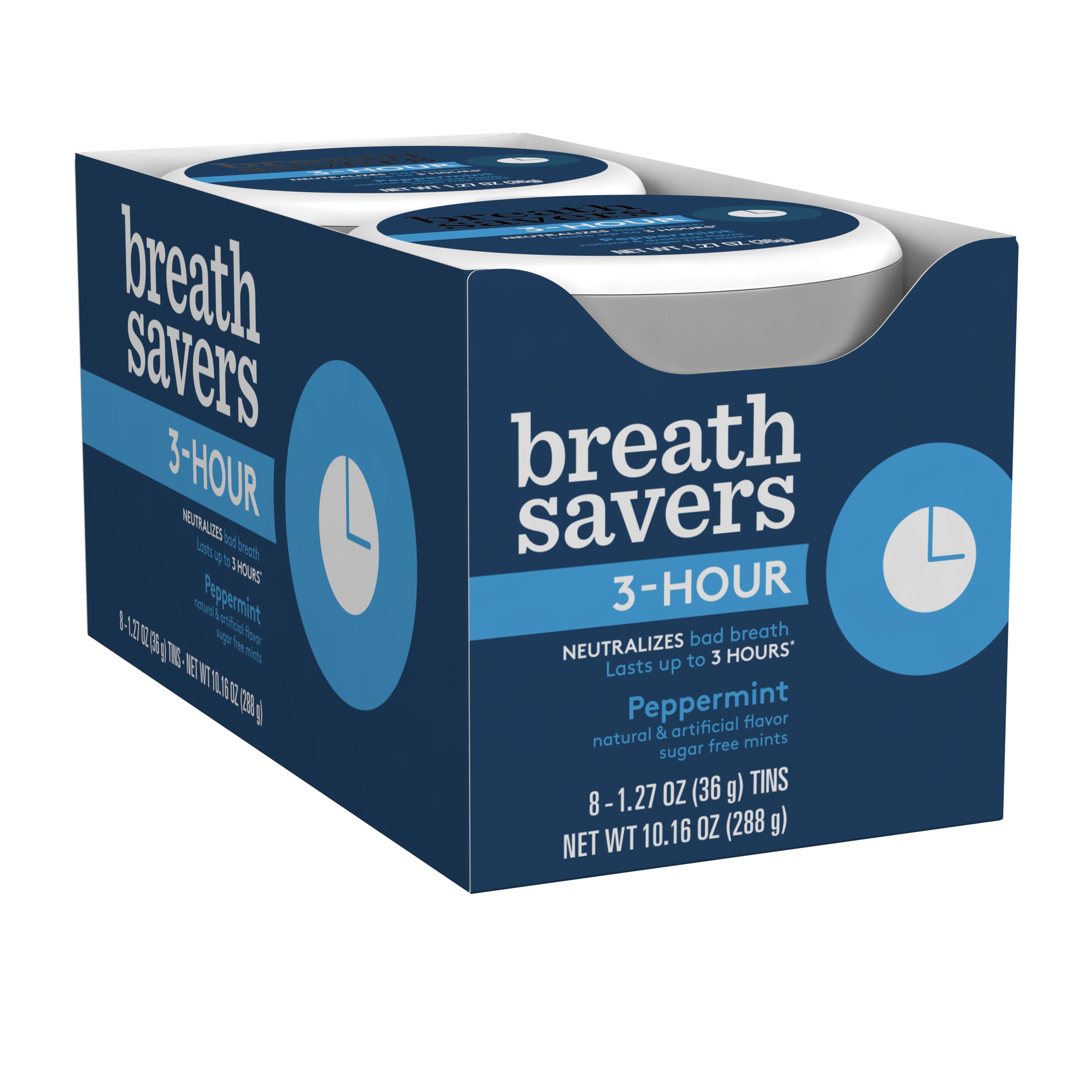 Breath Savers, 3 Hour Peppermint Mints, 1.27 Oz, 8 Ct