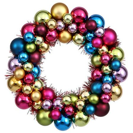 12 jewel tone multi color shatterproof christmas ball ornament wreath - Jewel Colored Christmas Decorations