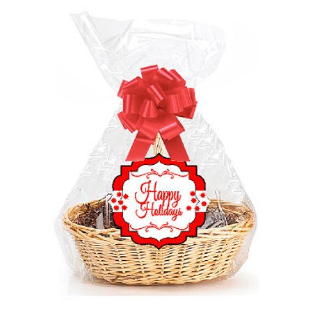 """Happy Holidays  2Pack Designer Cello Bags / Tags / Bows Cellophane Extra Large Gift Basket Packaging Bags Flat 25"""" X 30"""""""