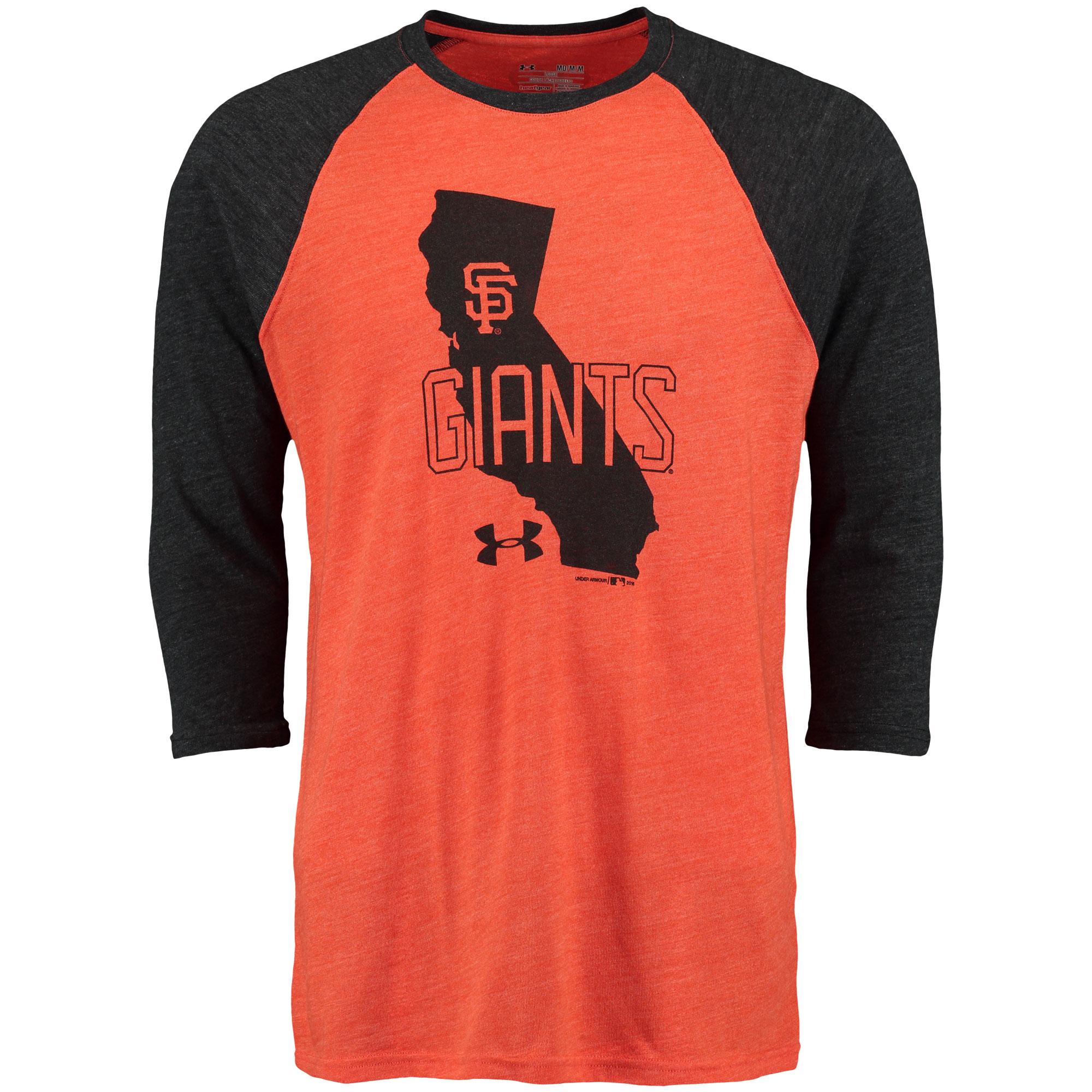 San Francisco Giants Under Armour 3/4-Sleeve Tri-Blend Baseball Performance T-Shirt - Orange/Black