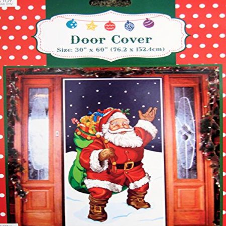 Santa with Gifts Door Cover Holiday Decoration Plastic 30x60