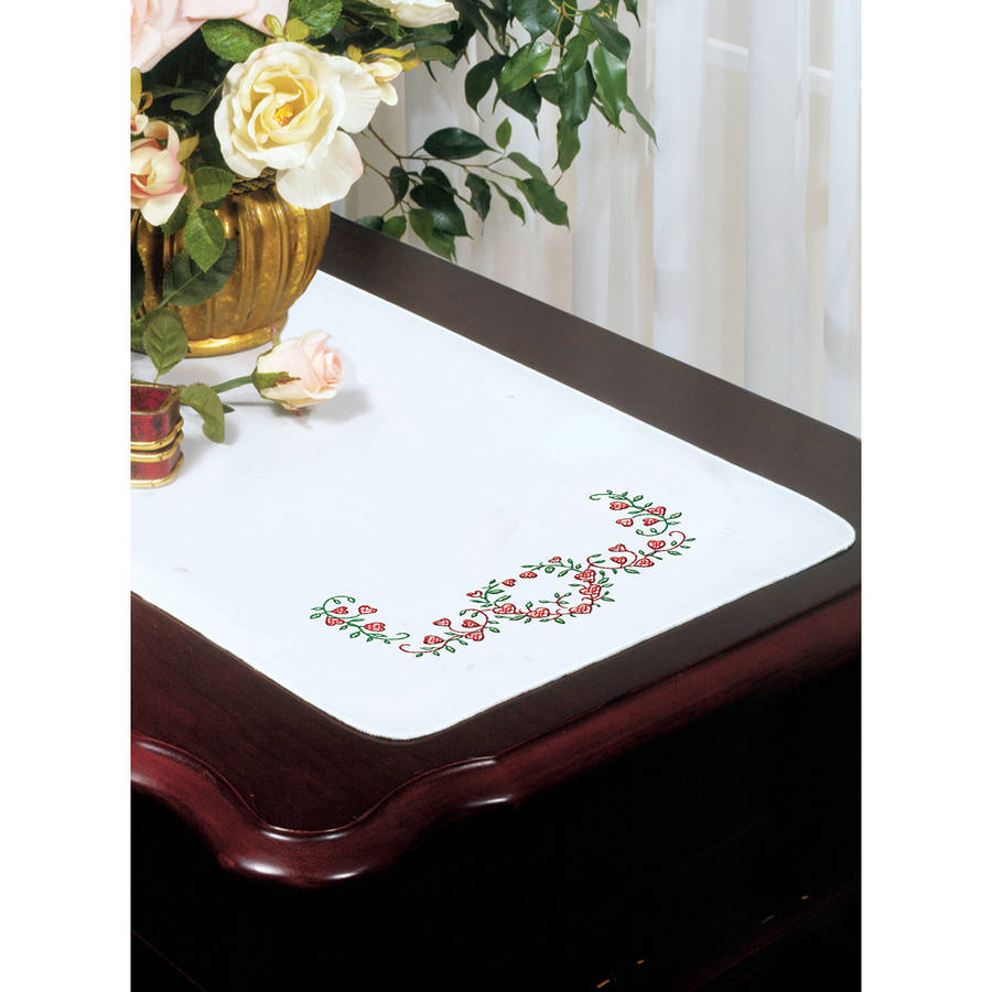 "Stamped White Dresser Scarf For Embroidery, 14"" x 39"", Heart Vine"