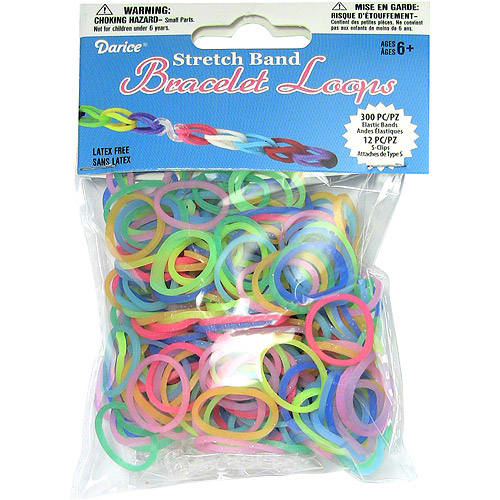 Mini Rubber Bands with 12 Clips, Glow In The Dark, 300-Pack