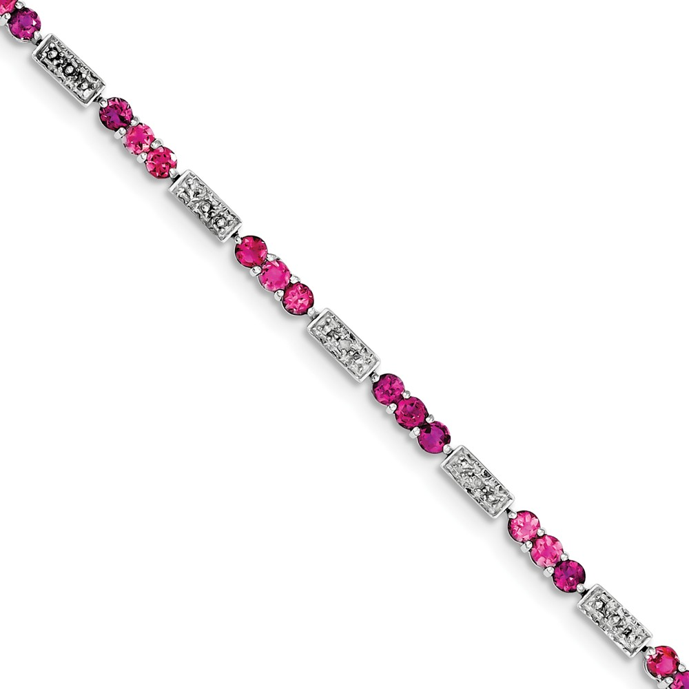 "925 Sterling Silver (0.02cttw) Pink Tourmaline and Diamond Bracelet -7"" (7in x 3mm) by"