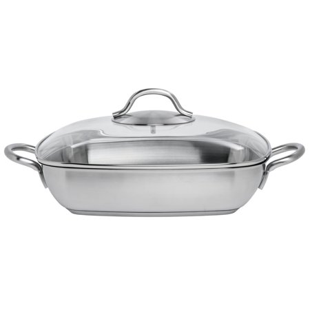 Casserole Dish With Glass Lid Silver Stainless Steel - 11
