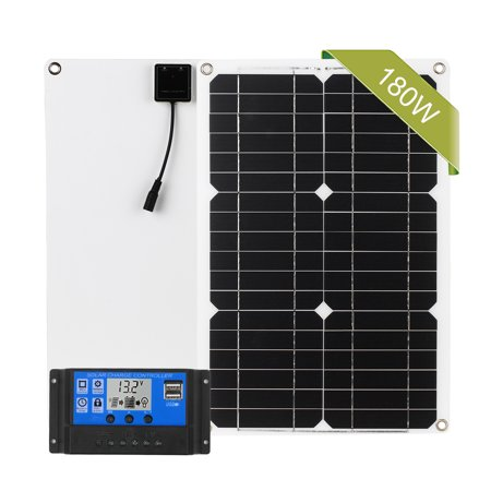 180W Solar Panel Kit Dual USB Port Off Grid Monocrystalline Module with Solar Charge Controller SAE Connection Cable Kits