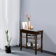 Lowestbest 2-Tier End Table, Side Table with Storage Shelf, Bedside Table with Drawers, Sofa Table for Living Room, Bedroom, Brown