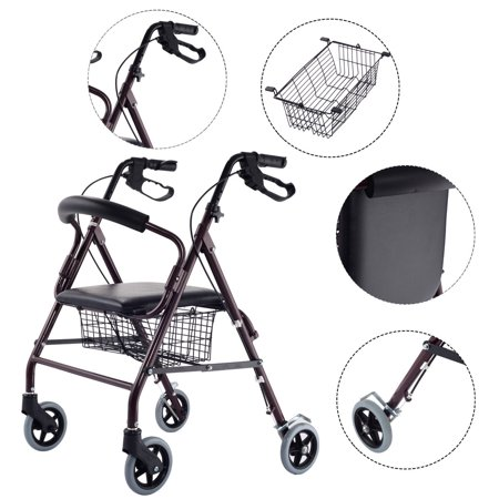 Costway Drive Medical Rollator Walker Folding W  6Wheel Basket Soft Seat Adult Health