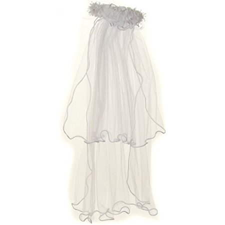Little Girls Pearl Accented Flower Crown Tiara Mesh Communion Veil White Ruffle](First Holy Communion Tiaras)
