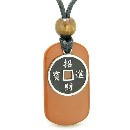 Amulet Lucky Coin Charm Red Jasper Tag Spiritual and Good Luck Powers Pendant Adjustable Necklace
