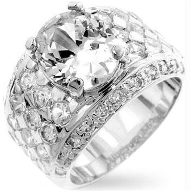 Silver Oval CZ Ring, <b>Size :</b> 14