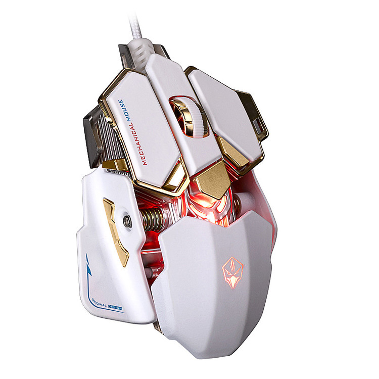 VicTsing Mechanical Gaming Mouse 4000 DPI Adjustable Optical Multiple Color Professional USB Wired Mouse (White)